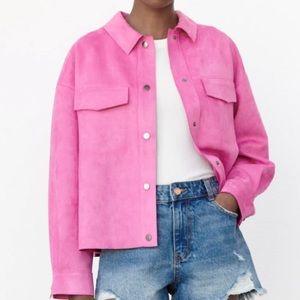 Zara pink faux eco bottle pink Barbie jacket size XL
